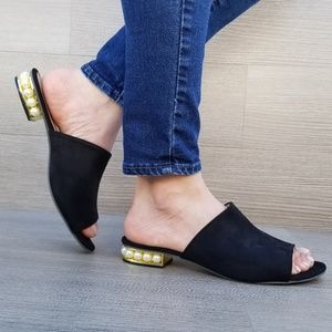 Shoes - Black Vegan Suede Loafer Open Toe Sandal Pearl-F